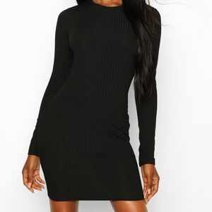 Long sleeve rubbed midi dress